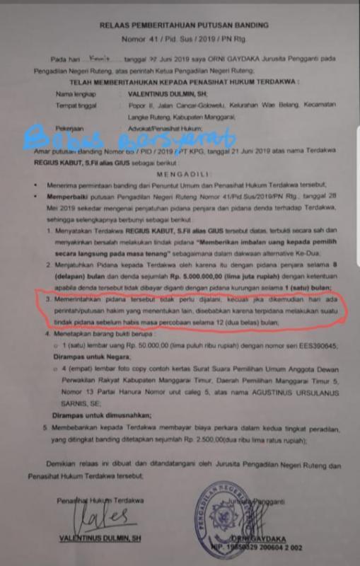 Salinan putusan kasus money politic dengan terdakwa Regius Kaut (Tajukflores.com/Ist)